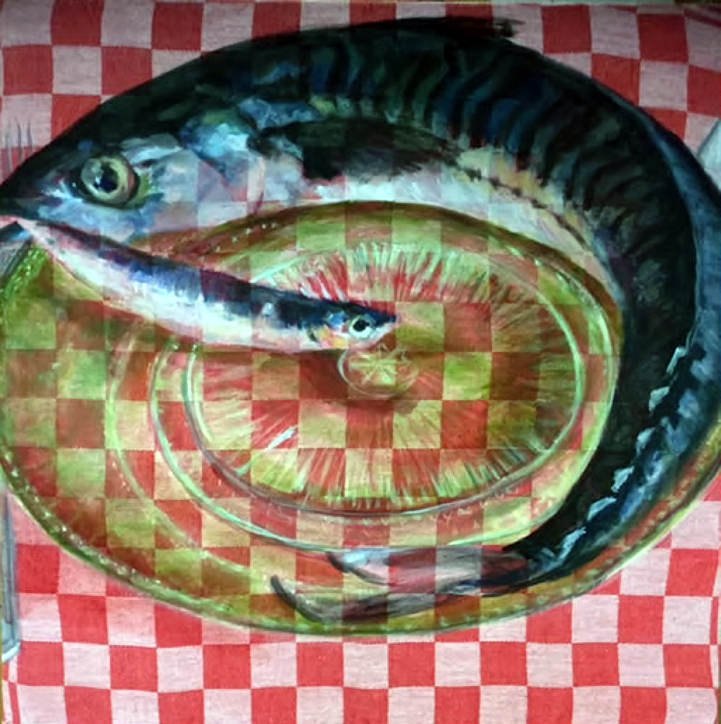 Hunger (2018) - oil on dish towel - 50x50cm